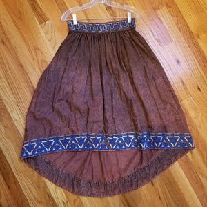 Women's Rust colored high low embroidered skirt
